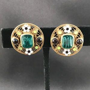 Vintage screw back earrings mosaic style